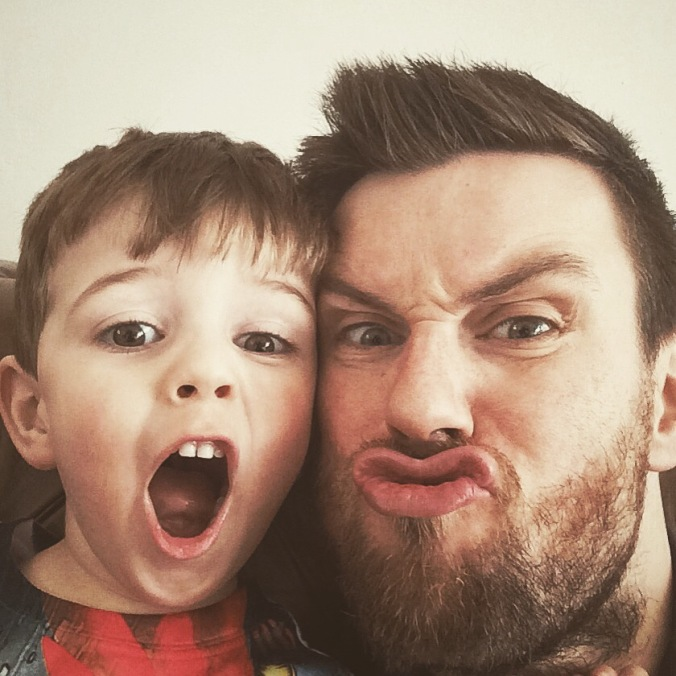 Dad and son selfie